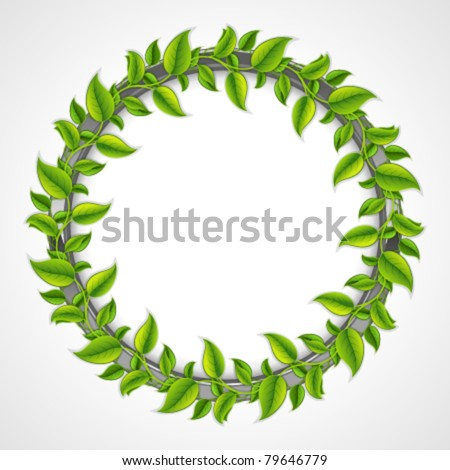 Green leaves round frame. Vector background Eps 10.