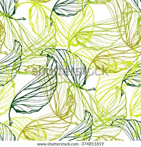 Green leaves semless pattern. Ecology design.  - stock vector