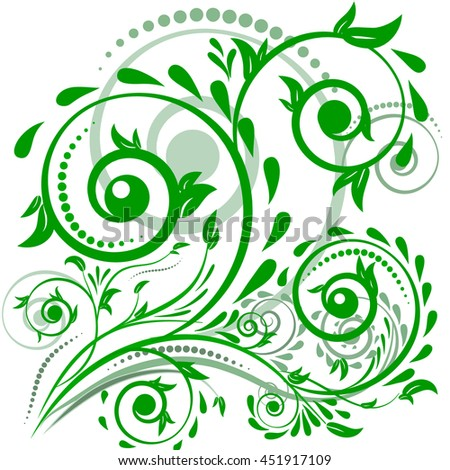 Green leaves with abstract swirls on a white background. Can be used as a background, decor, decoupage, textile, invitation. - stock vector