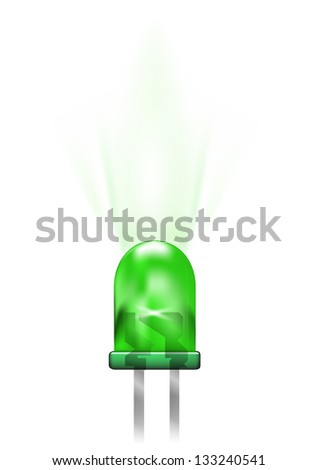 Green led isolated on white. Vector illustration. - stock vector