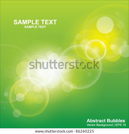 Green light bubbles abstract vector background in eps10 format
