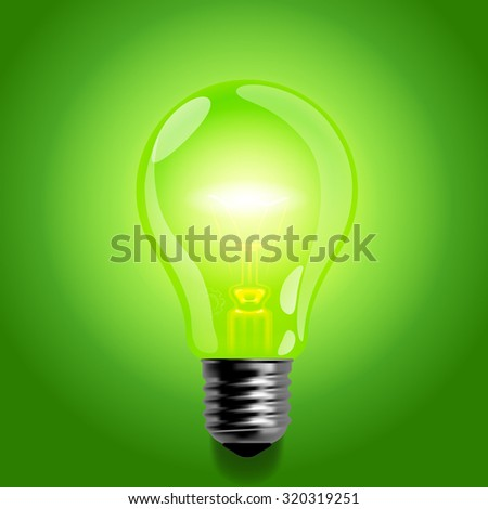 Green light bulb.  Business idea symbol and business concept. Vector illustration
