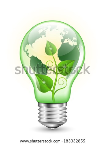 Green light bulb with Earth map and green plant inside it