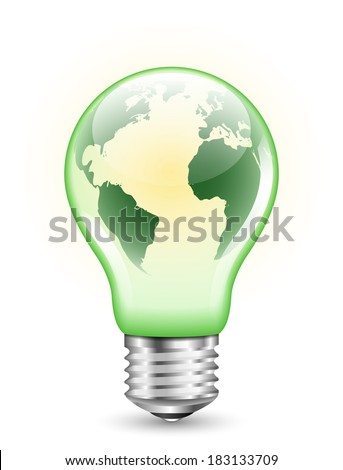 Green light bulb with Earth map inside it