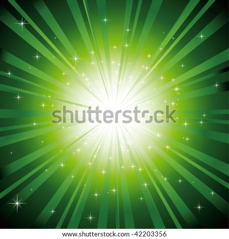 Green light burst with sparkling stars