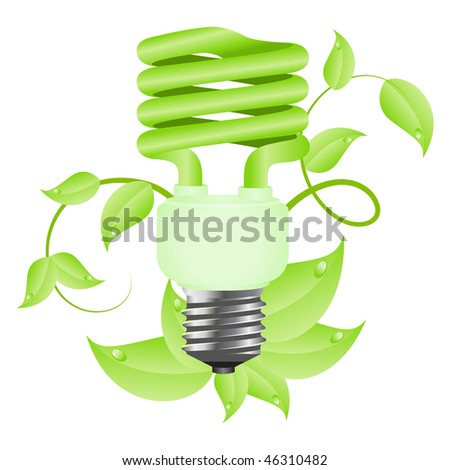 Green light floral bulb with leafs. Isolated on white background. Vector illustration. - stock vector