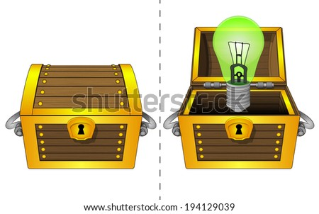 green lightbulb in open wooden chest and closed one isolated vector illustration - stock vector