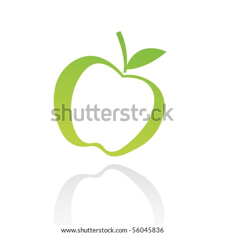Green line art apple isolated on white - stock vector