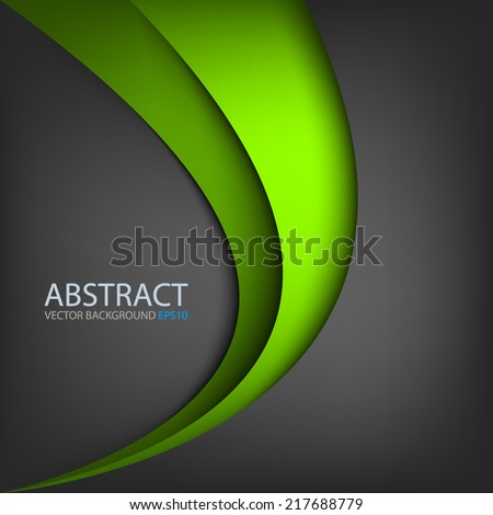 Green line curve gradient background on black color background layer paper overlap for text and message modern artwork design - stock vector