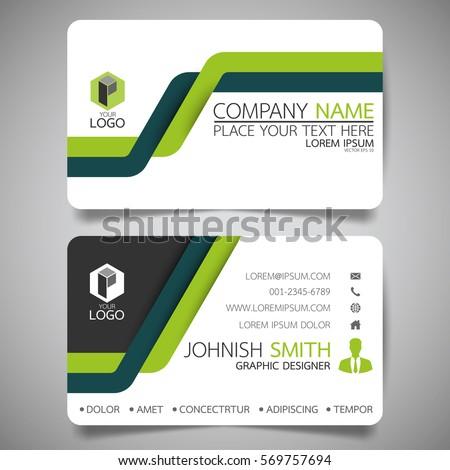 green line modern creative business card stock vector 569757694
