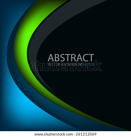 Green line vector background on black space and blue background overlap layer paper for text and message modern design - stock vector