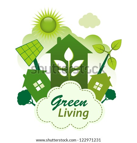Green living concept. Green housing community on a cloud. - stock vector