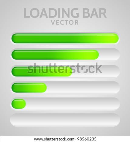 Green Loading Bars set with shine - stock vector