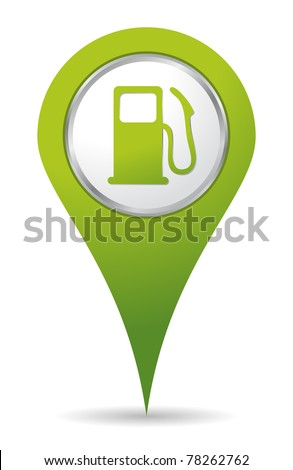 green location gas pump icon - stock vector