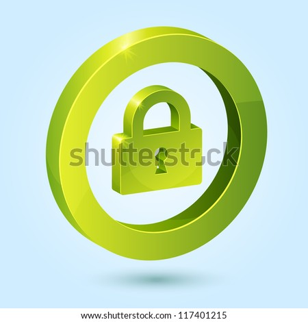 Green lock symbol isolated on blue background. This vector icon is fully editable.