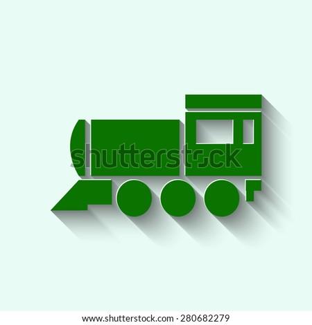 green Locomotive icon . Vector illustration - stock vector