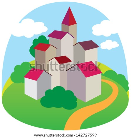 Green magic City landscape with road. Vector illustration - stock vector