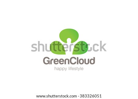Green Man Cloud Eco Logo design vector template Negative space. Ecology Happy life Logotype concept icon. - stock vector