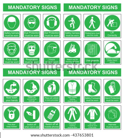 Green mandatory construction engineering and manufacturing health and safety sign set isolated on white background