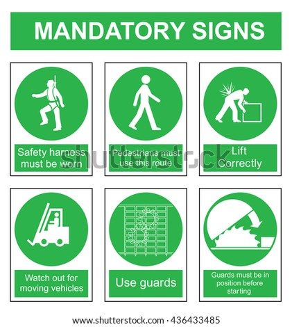 Green mandatory safety sign set isolated on white background - stock vector