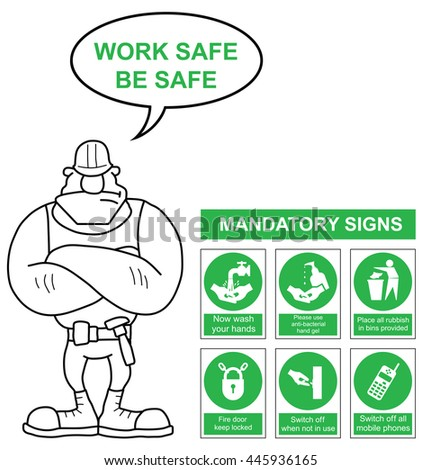 Green mandatory safety sign set with work safe be safe message isolated on white background