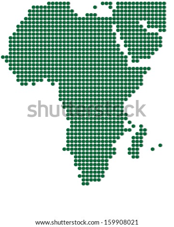 Green map of Africa. Abstract vector illustration. - stock vector