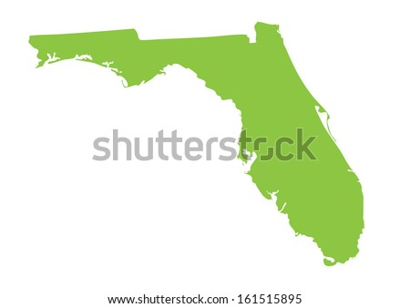 green map of Florida - stock vector