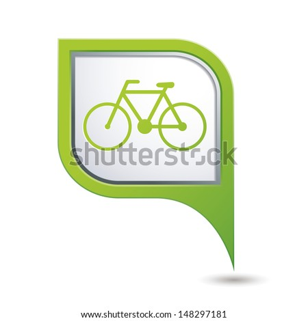 Green map pointer with bicycle icon. Vector illustration - stock vector