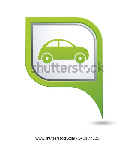 Green map pointer with car icon. - stock vector