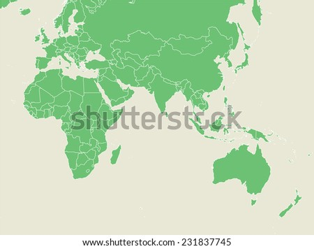 Green map with countries borders  - stock vector
