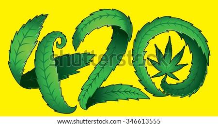 Green marijuana leaf 420 text vector illustration - stock vector