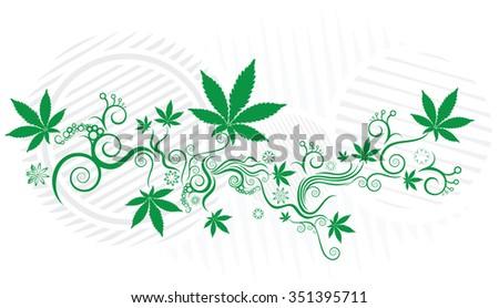 Green marijuana leaf texture background vector illustration - stock vector