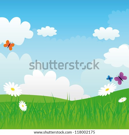 green meadow and blue sky, vector illustration