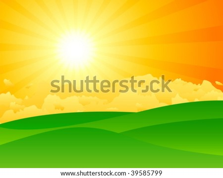 Green meadow, dramatic sun and clouds. Vector illustration.