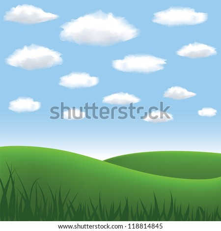 green meadow, hill, blue sky and clouds in summertime - stock vector