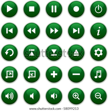 Green media icons - stock vector