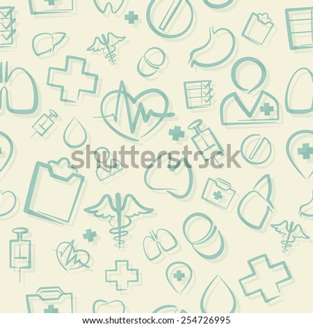 Green Medical Seamless Pattern. Editable pattern in swatches. - stock vector