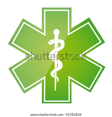 green medical sign isolated over white background. vector - stock vector