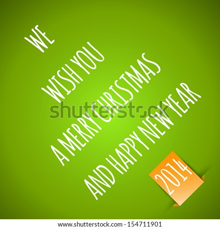 green merry christmas card with orange sticker. christmas concept
