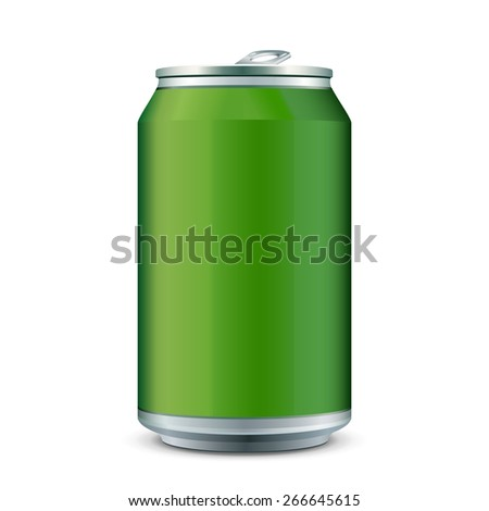Green Metal Aluminum Beverage Drink Can 330ml. Ready For Your Design. Product Packing Vector EPS10  - stock vector