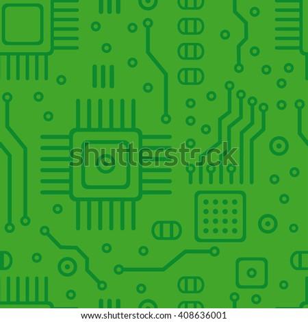 Green microchip technology pattern. Circuit board pattern. Microchip technology pattern isolated. - stock vector
