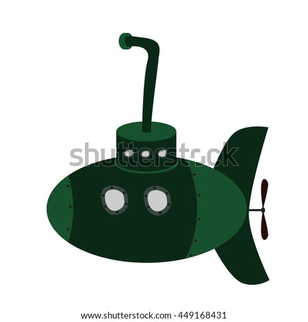 Green military submarine with periscope. Cartoon style vector illustration. Isolated on white background. - stock vector
