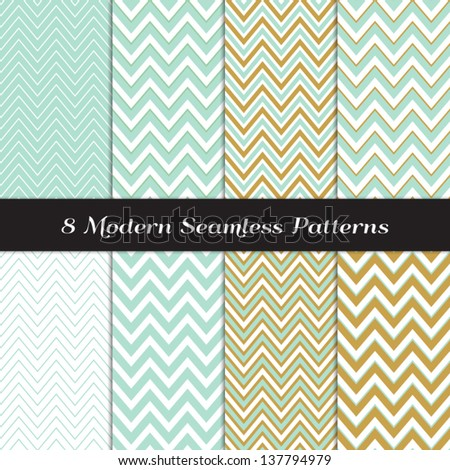 Green Mint and Gold Chevron and Argyle Seamless Patterns. Pattern Swatches included and made with Global Colors - easy to change all patterns in one click. - stock vector