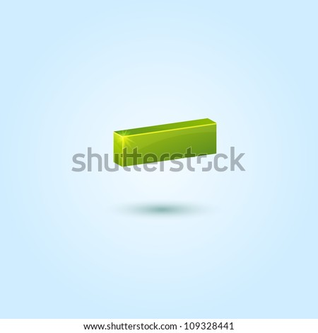 Green minus symbol isolated on blue background. This vector icon is fully editable. - stock vector