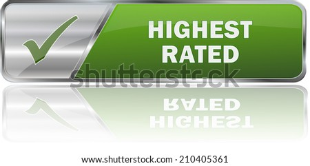 green modern highest rated sign - stock vector