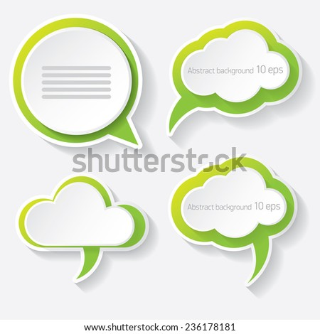 green modern paper banners set / can be used for infographics / numbered banners / horizontal cutout lines / graphic or website layout vector - stock vector