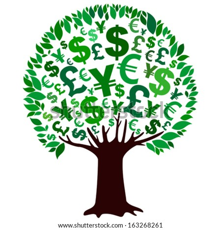 Green money tree isolated on White background. Vector illustration  - stock vector