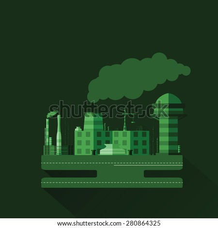 Green monochrome illustration of an industrial factory with the long shadow in flat design style.