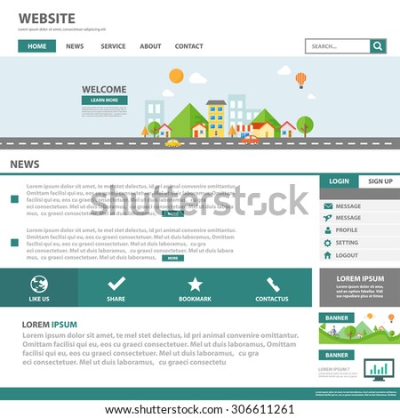 Green Multipurpose business building town and city template web flat design with icon and user interface