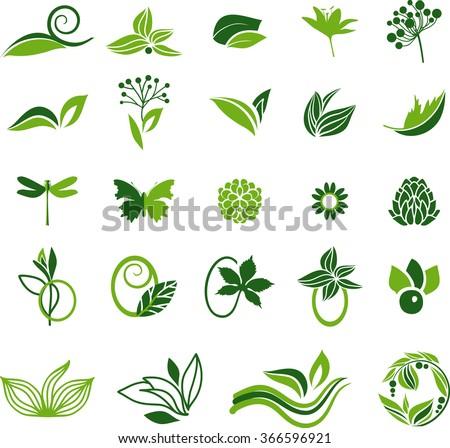 Green natural symbols - stock vector